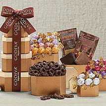 Godiva Milk and Dark Chocolate Tower: Send Birthday Gifts to Raleigh
