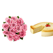 NY Cheescake with Pink Roses: Flowers to Kansas City