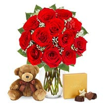 One Dozen Roses with Godiva Chocolates and Bear: Flowers to Kansas City