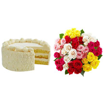 Vanilla Cake with Assorted Roses: Send Birthday Gifts to Raleigh
