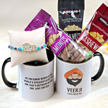 Veera Rakhi with Mug and Nuts: Rakhi to Pittsburgh