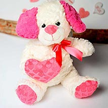 White n Pink Puppy Soft Toy: Valentines Day Gifts to Manchester