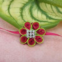 Paper Quilling Flower Rakhi YUG: Send Rakhi to Yugoslavia